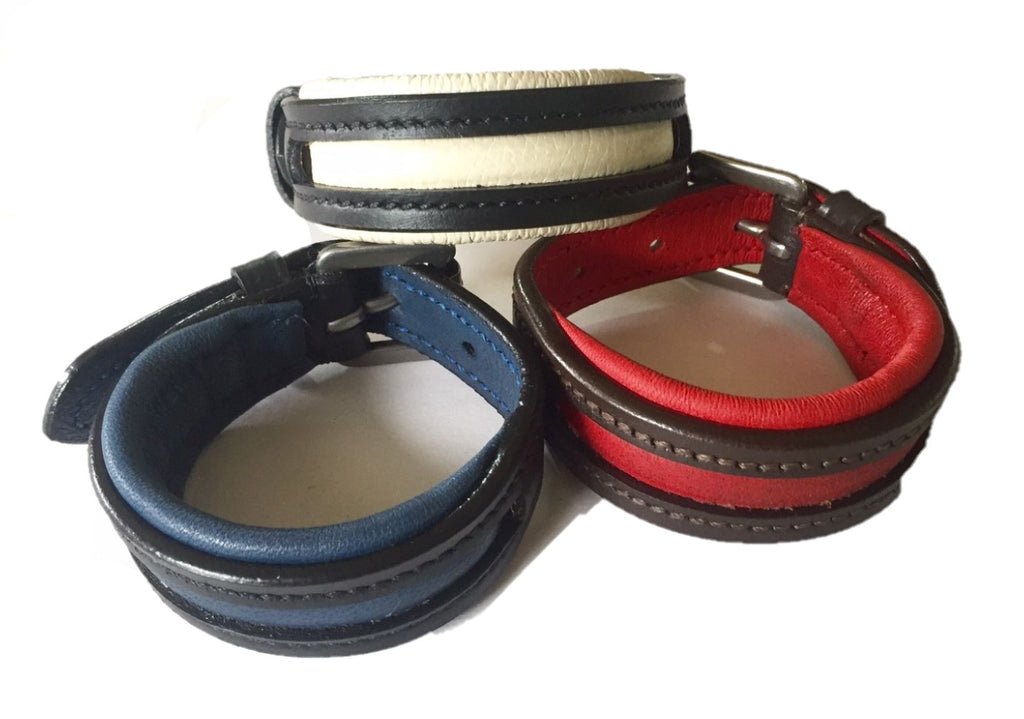 Empty Channel Inlay Leather Padded Dog Collars 5 pcs.