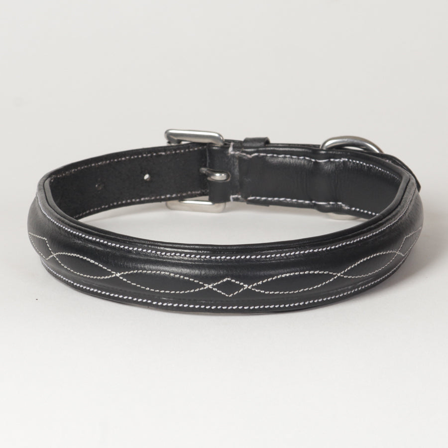Fancy Stitch Leather Padded Dog Collar