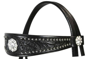 Floral Hand Tooled Front Concho Leather Horse Headstall / Headstalls