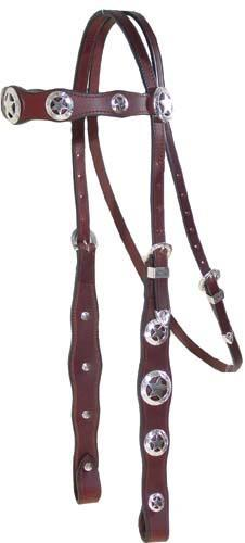 Silver Star Concho Headstall, Breast Collar & Reins Set