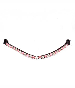 Dual tone Pink & Clear Crystal Leather Horse Browbands / Browband