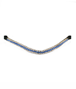 Blue Bling Three Row Crystal Horse Leather Browband