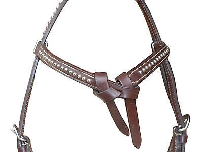 USA Leather Headstall, Knotted, decorated with Spots - SADDLES EHS