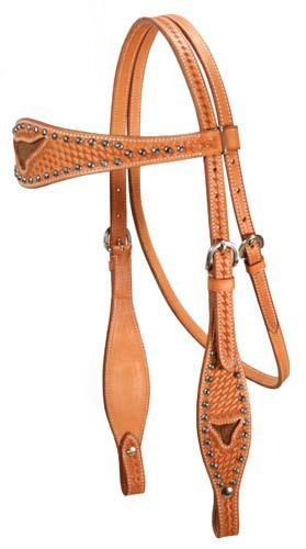 Long Horn Inlaid Basketweave Tooled Leather Horse Headstalls