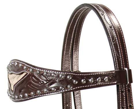 Floral Western Long Horn Inlaid Style Headstall / Headstalls