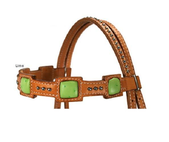 Ostrich Print Square Leather Horse Headstalls