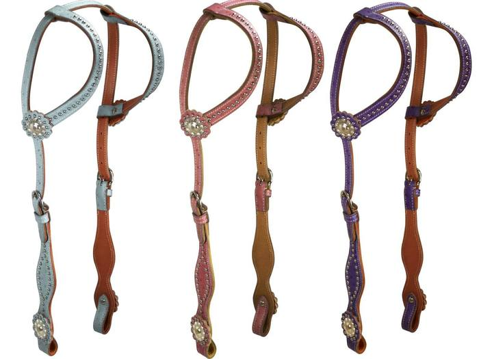 Ostrich Print Elegant Leather Headstall