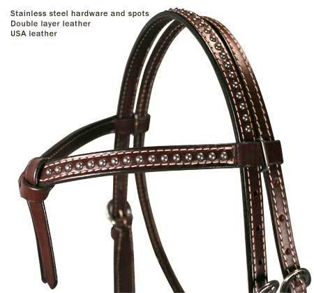 Knotted Spots Leather Horse Headstall