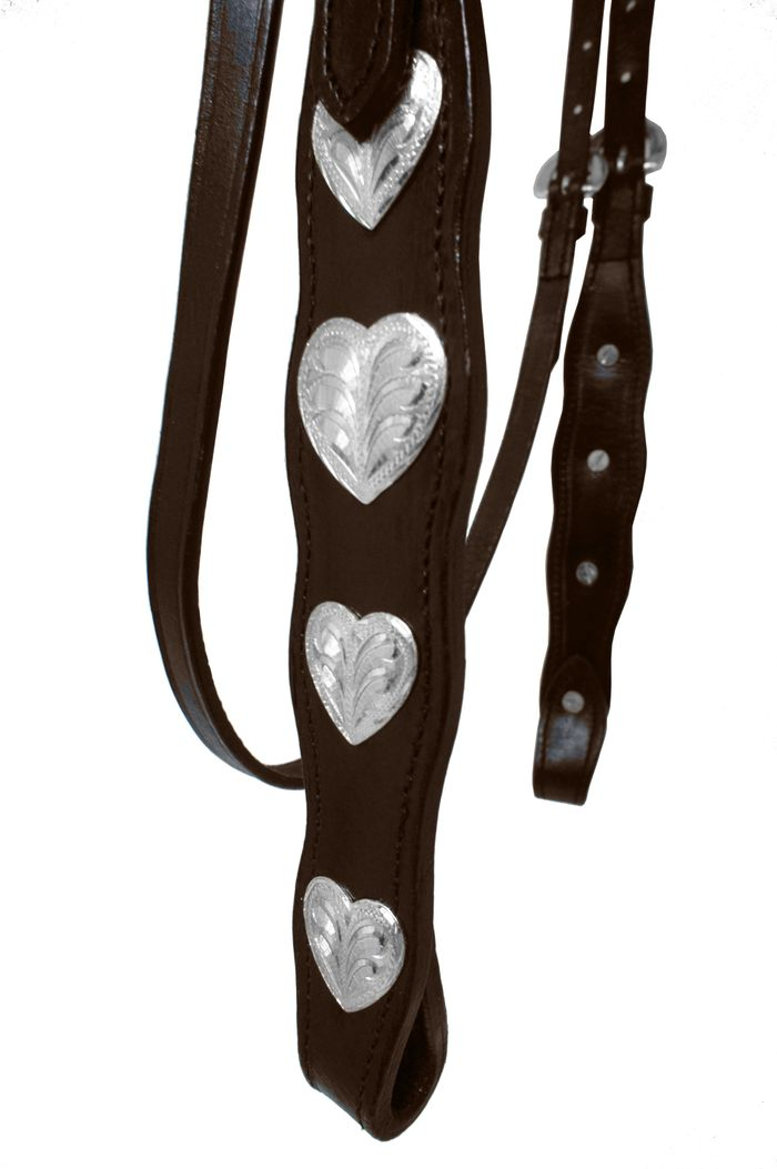Silver Hearts Concho Headstall with reins