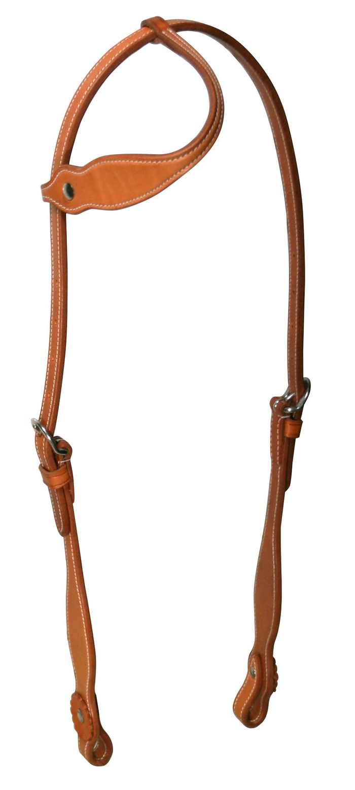 Double Layer Slip Ear Leather Horse Headstall