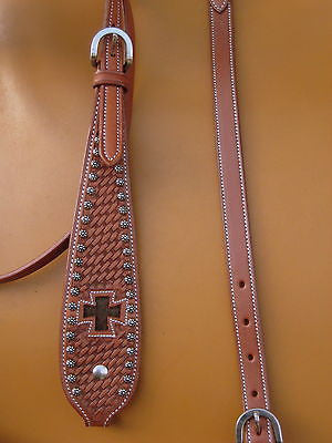 USA Leather Western Tack Headstall & Breastcollar Cross Hair On