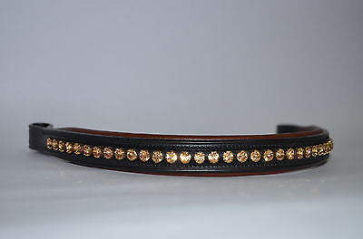 SIE- Light Gold Swarovski Crystals Studded Padded Leather Browband for Bridles