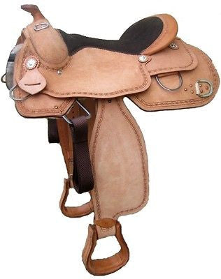 Natural USA Leather Roughout western tahoe saddle 16'' Closeout