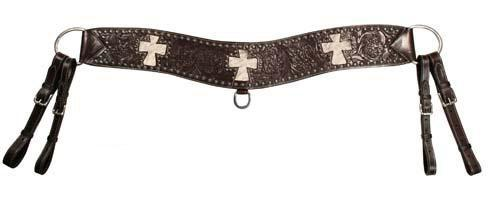 Sunspots Floral Tooled Cross Inlaid Tripper Collar