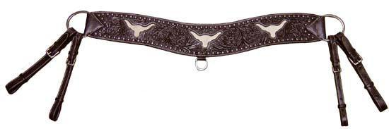 Sunspots Floral Tooled Longhorn Inlaid Tripper Collar