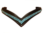 Turquoise Crytal Two Row Crystal Leather V shape browbands