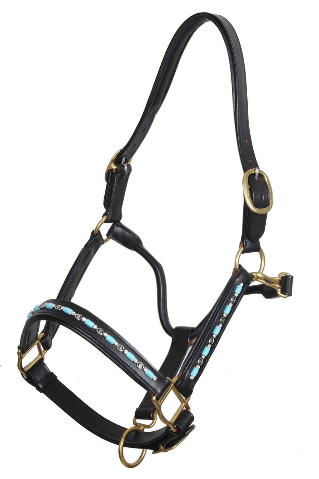 Turquoise Beaded Leather Padded Show Horse  Halters / Halter