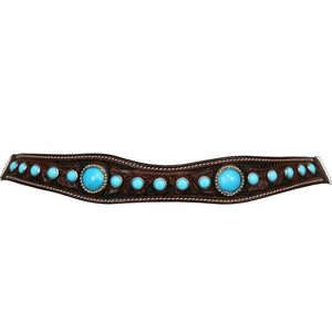 Turquoise Beaded Leather Horse Headstall with Reins