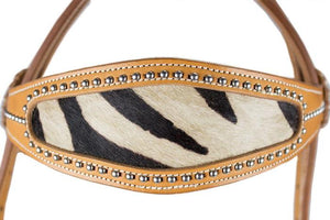 Zebra Print Inlay Leather Hair On Hedstall