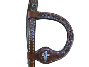 Crystal Cross Tooled Headstall