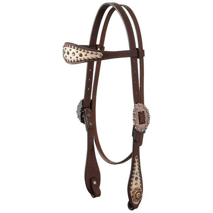Gold Spot Leather Headstall
