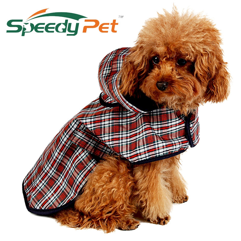 Waterproof Dog Raincoat Jacket Reflective Plaid Poncho Teddy Raincoat S/M/L/XL