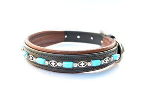 Turquoise Beaded Leather Pet / Dog Collars