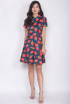 Aalin Red Floral Removable Cheong Sam Collar Dress In Navy Blue