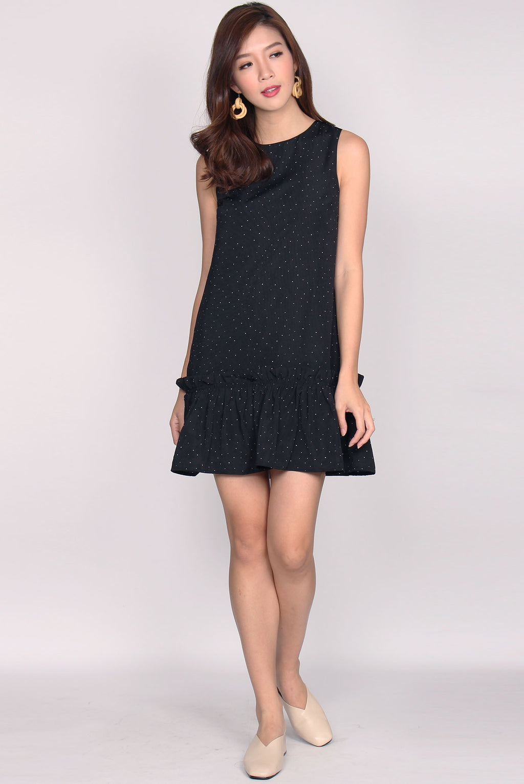 Abella Ruffle Drop Waist Dress In Black Dots