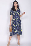 Aberdine Yellow Floral Buttons Sleeve Maxi Dress In Navy Blue