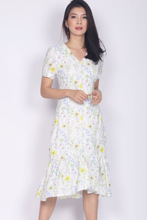 Aberdine Yellow Floral Buttons Sleeve Maxi Dress In White