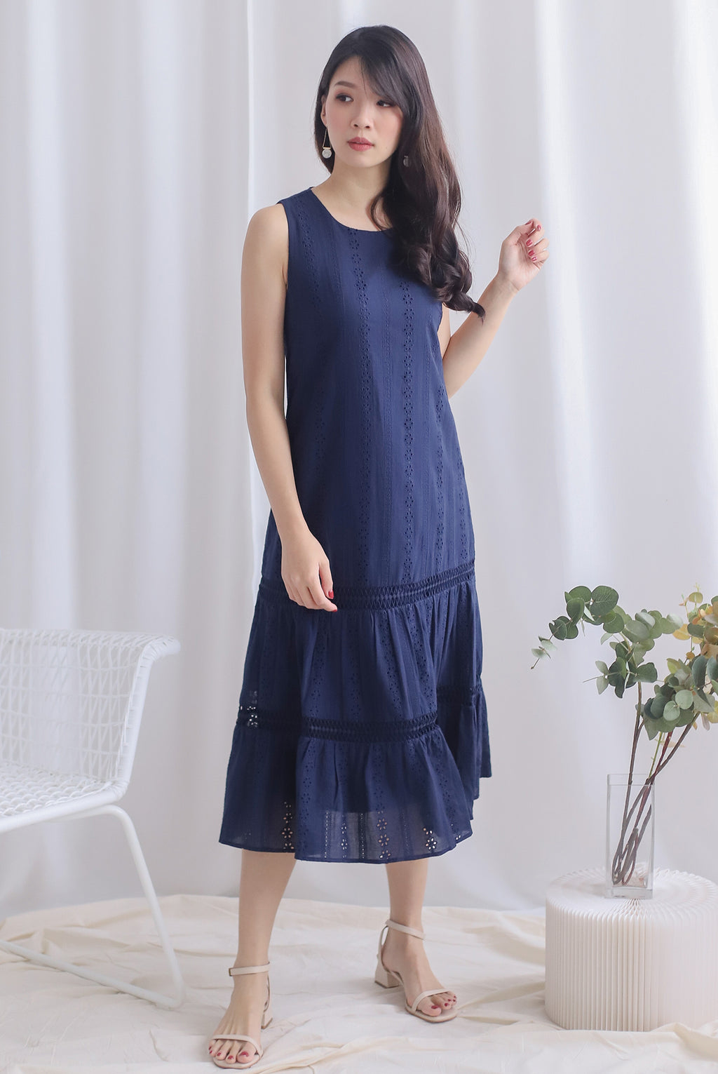 Abilene Eyelet Midi Dress In Navy Blue