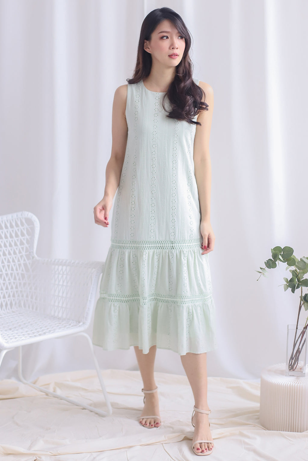 Abilene Eyelet Midi Dress In Apple Green