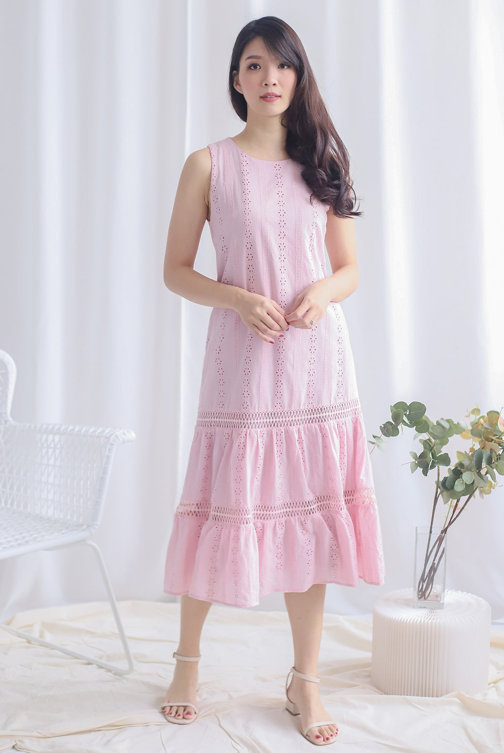 Abilene Eyelet Midi Dress In Pink