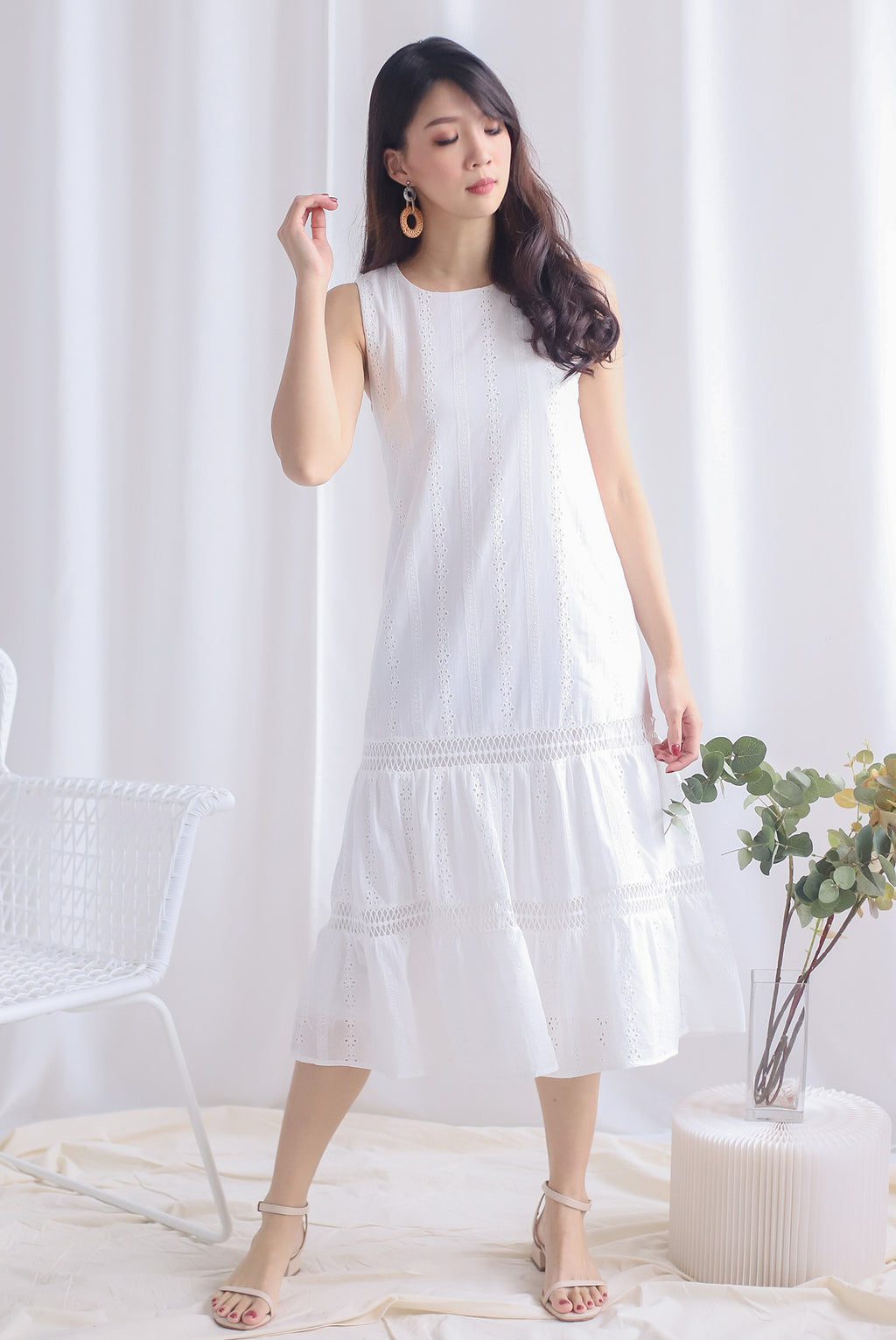 Abilene Eyelet Midi Dress In White