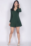 Accalia Buttons Sleeved Romper In Forest Green