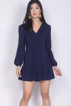 Accalia Buttons Sleeved Romper In Navy Blue