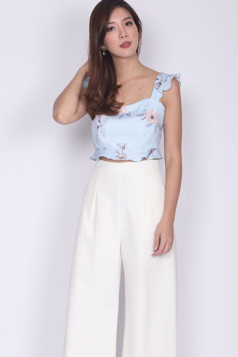 Accalia Ruffle Sleeve Crop Top In Skyblue Floral