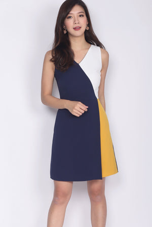 Acedia Colour Block Work Dress In Navy/Mustard