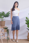 Achara Pleated Pencil Skirt In Blue