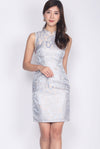 Achilla Oriental Texture Cheong Sam Dress In Blue