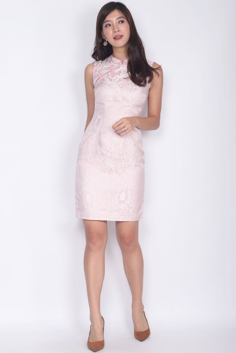 Achilla Oriental Texture Cheong Sam Dress In Pink