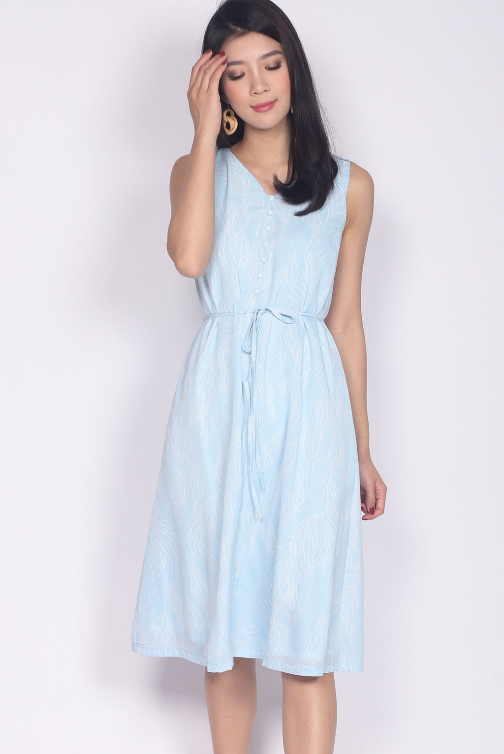 Adair Stem Buttons Dress In Skyblue