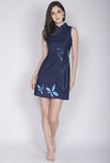 Adalei Hand Draw Oriental Collar Dress In Navy Blue