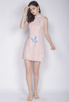 Adalei Hand Draw Oriental Collar Dress In Blush