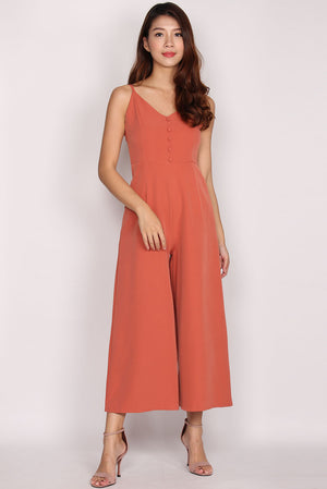 Adalicia Buttons Spag Jumpsuit In Salmon