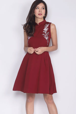 Addalie Embro Cheong Sam Dress In Wine Red