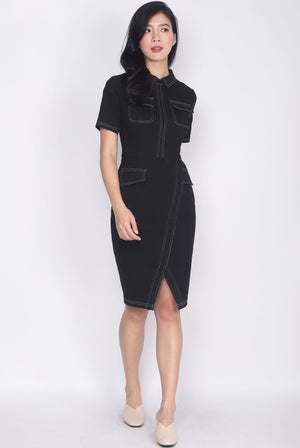 *Premium* Addisyn Denim Sleeve Pencil Dress In Black