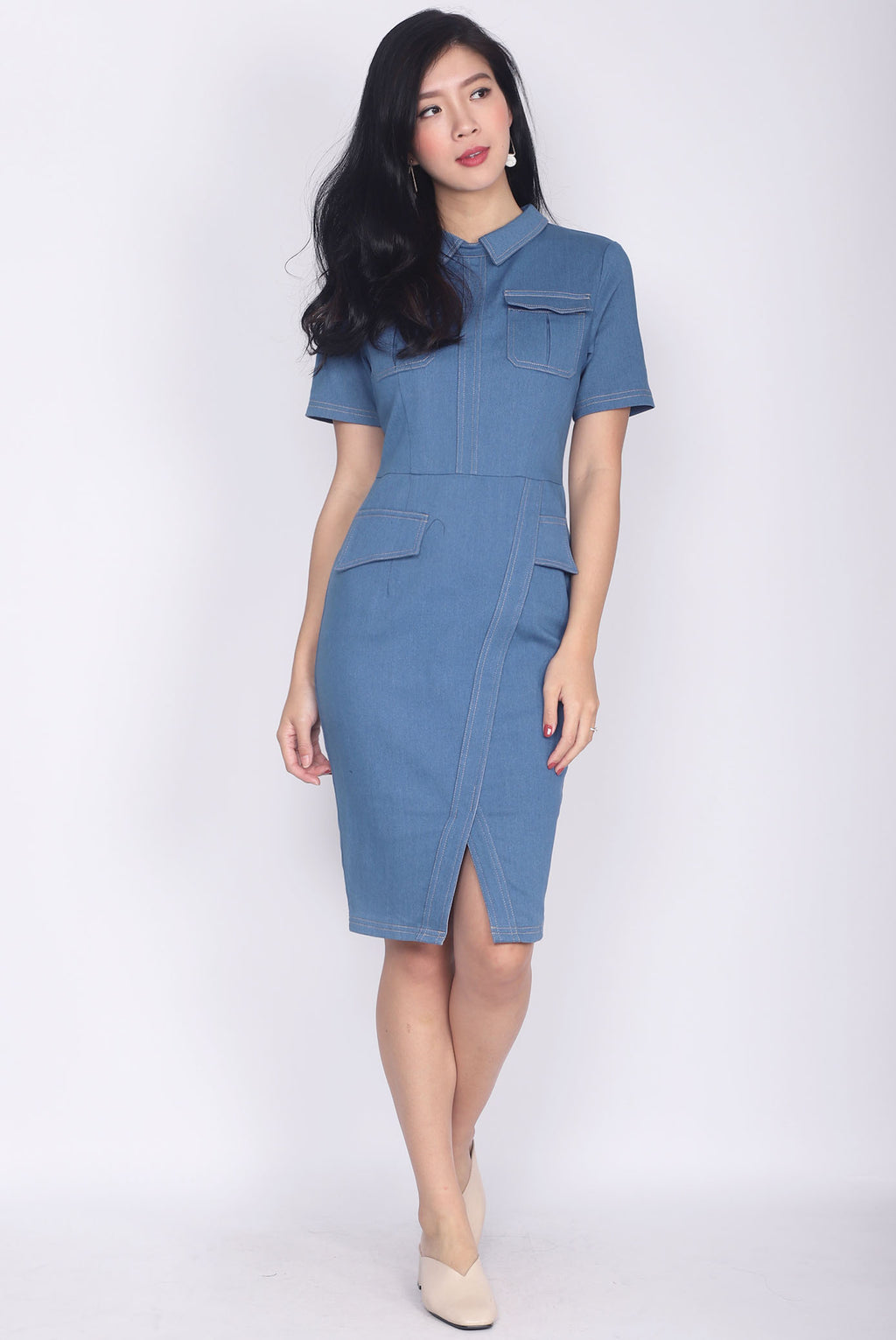 *Premium* Addisyn Denim Sleeve Pencil Dress In Blue