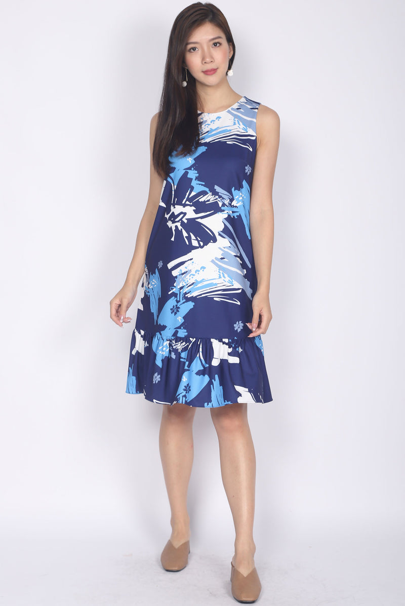 Addy Brush Floral Drop Waist Dress In Navy Blue